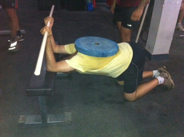 NIsh is working on his shoulder flexibility  some mobility WOD